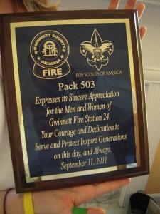 Pack 503 Honors Gwinnett Fire Station 24