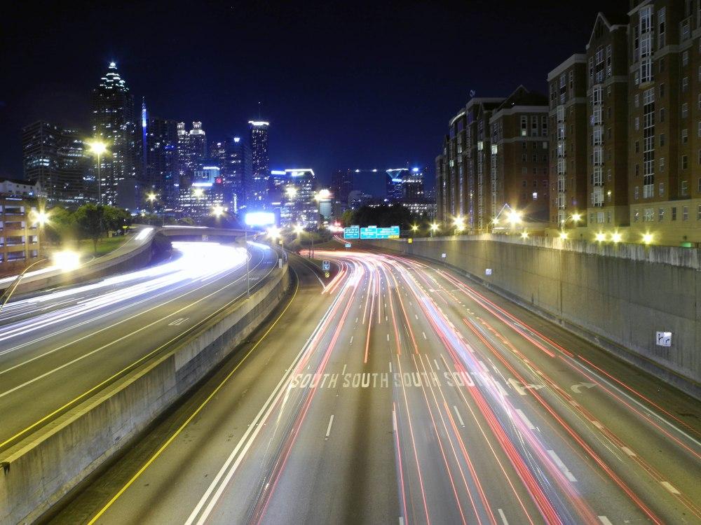 Long exposure shot of traffic in Atlanta.